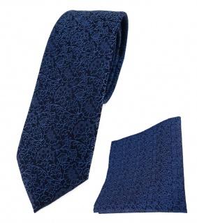 schmale TigerTie Krawatte + Einstecktuch blau marine dunkelblau florales Muster