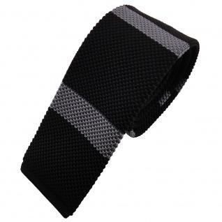 Schmale Strickkrawatte schwarz grau anthrazit gestreift - Krawatte Polyester Tie