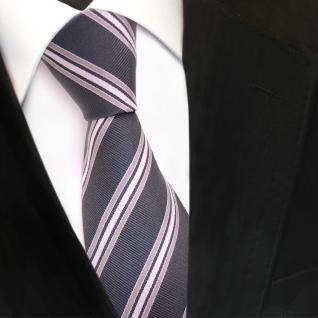 TigerTie Seidenkrawatte grau hellgrau silber gestreift - Krawatte Seide Binder