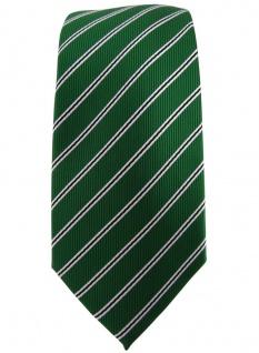 schmale TigerTie Designer Krawatte in grün smaragdgrün schwarz weiß gestreift - Vorschau 2