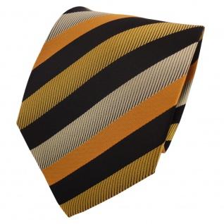 Schicke Krawatte gold gelb orange schwarz gestreift - Binder Tie
