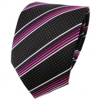 TigerTie Krawatte in magenta rosa silberweiss schwarz gestreift - Binder Tie