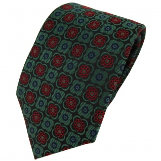 TigerTie Designer Krawatte in grün weinrot schwarz marine gemustert - Binder