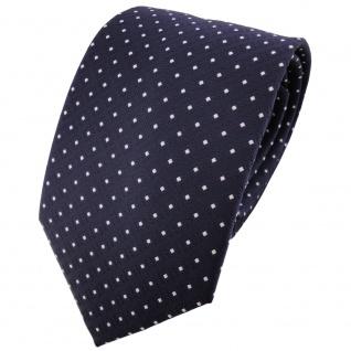 TigerTie Krawatte in marine dunkelblau silberweiss gepunktet - Binder Tie