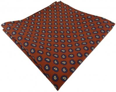 TigerTie handrolliertes Seideneinstecktuch rust braun blau gold schwarz Paisley
