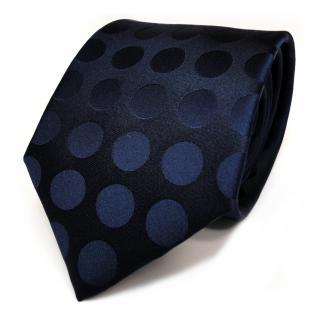 Designer Seidenkrawatte blau dunkelblau schwarzblau gepunktet - Krawatte Seide