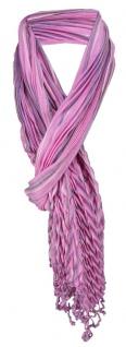 gecrashter Schal in rosa pink grau gestreift mit Fransen - 190 x 60 cm