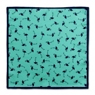 TigerTie Seideneinstecktuch in mintgrün marine Motiv Flamingos gemustert