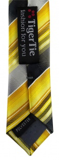 schmale TigerTie Designer Krawatte in gelb gold silber anthrazit grau gestreift - Vorschau 5