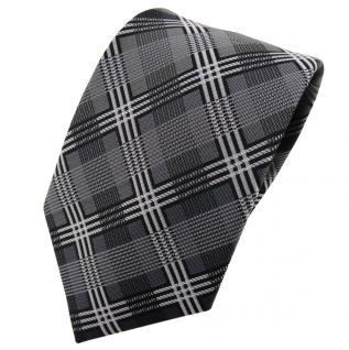 TigerTie Designer Krawatte silber anthrazit grau schwarz kariert - Schlips