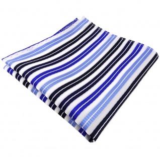 schönes Einstecktuch in blau hellblau dunkelblau silber gestreift - Tuch Poly