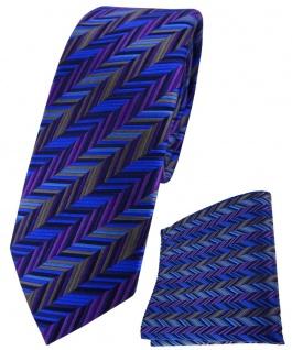 schmale TigerTie Seidenkrawatte + Seideneinstecktuch blau lila grau gemustert