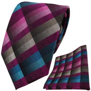 TigerTie Krawatte + Einstecktuch in lila rosa petrol türkis beige braun kariert
