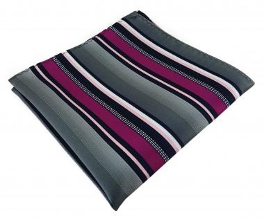 TigerTie Designer Einstecktuch in magenta silber grau weiss schwarz gestreift - Vorschau 1