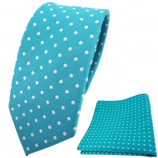 schmale TigerTie Krawatte + Einstecktuch türkis türkisblau silber gepunktet