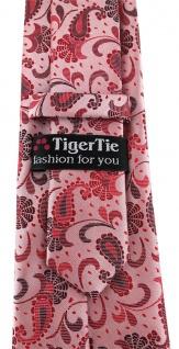 TigerTie Designer Krawatte in rot weinrot rosa anthrazit Paisley gemustert - Vorschau 3
