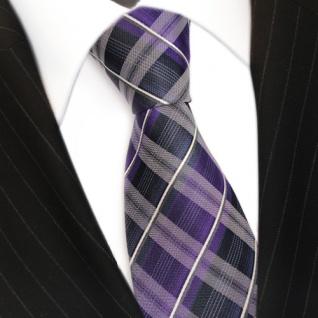 TigerTie Seidenkrawatte lila blau dunkelblau weiss gestreift - Krawatte Seide - Vorschau 3