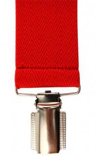 breiter TigerTie Herren Hosenträger mit 4 Clips in X-Form - Farbe rot - Vorschau 2