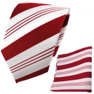 schöne TigerTie Krawatte + Einstecktuch in rot signalrot weiß silber gestreift