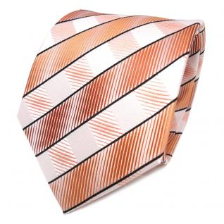 TigerTie Seidenkrawatte orange lachs hautfarben weiß gestreift - Krawatte Seide - Vorschau 1