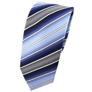 Schmale TigerTie Krawatte blau hellblau dunkelblau creme grau gestreift - Binder