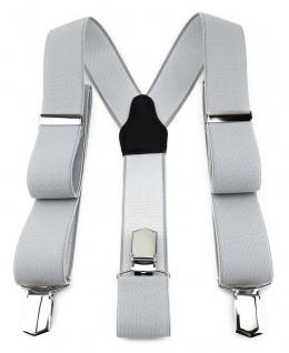 TigerTie Unisex Hosenträger mit 3 extra starken Clips - hellgrau einfarbig Uni