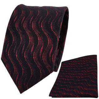 Set TigerTie Seidenkrawatte + Einstecktuch in rot bordeaux schwarz Wellenmuster