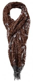 TigerTie Schal in braun grau gemustert - Schal 180 x 60 cm