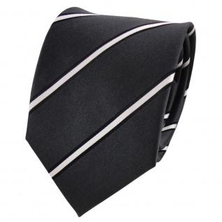 TigerTie Seidenkrawatte anthrazit silber schwarz gestreift - Krawatte Seide Silk