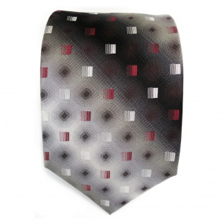 Designer Seidenkrawatte rot anthrazit grau silber schwarz gemustert - Krawatte - Vorschau 2