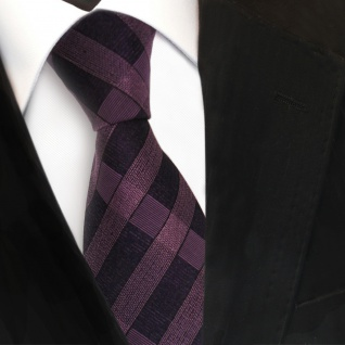 Designer Seidenkrawatte lila violett schwarz kariert - Krawatte Seide Tie