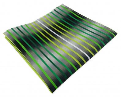TigerTie Einstecktuch in grün hellgrün grasgrün weiss silbergrau gestreift