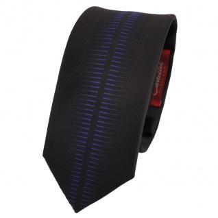 Schmale Designer Krawatte schwarz blau gemustert - Schlips Binder Tie