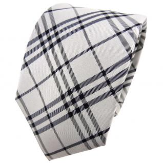 TigerTie Seidenkrawatte silber grau anthrazit schwarz kariert - Krawatte Seide