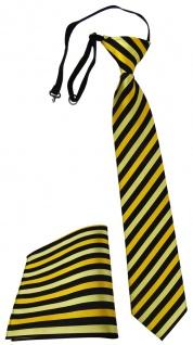 Sicherheits Krawatte + Stecktuch gold gelbgold schwarz gestreift mit Gummizug