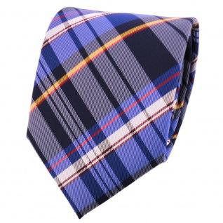 TigerTie Designer Krawatte blau rot gelb silber grau royal gestreift - Binder