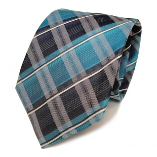 TigerTie Seidenkrawatte türkis mint opal grün blau weiss gestreift - Krawatte