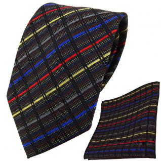 TigerTie Designer Krawatte + Einstecktuch gold grau blau rot schwarz gestreift