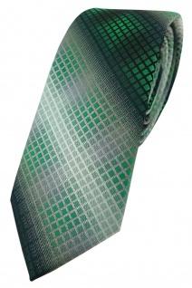 schmale TigerTie Designer Krawatte grün dunkelgrün silber grau schwarz kariert
