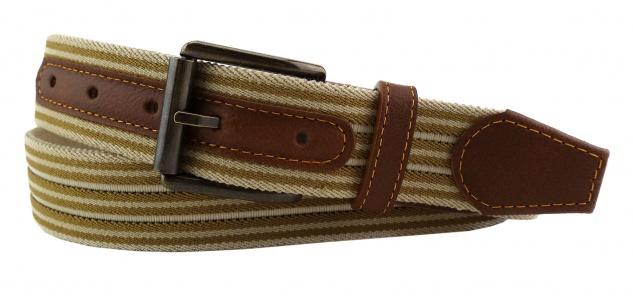 TigerTie - Stretchgürtel beige elfenbein creme gestreift - Bundweite 120 cm