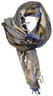 Halstuch in blau beige grau gemustert mit Fransen - Glitzerfaden eingewebt