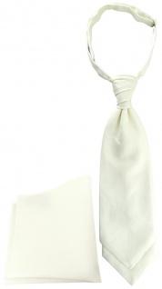 TigerTie Plastron Pique 2tlg Krawatte + Einstecktuch in creme uni gemustert