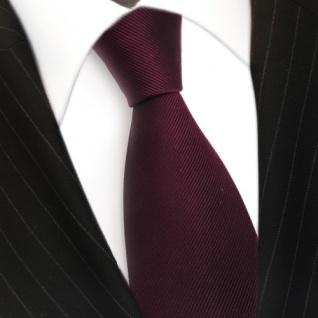 TigerTie Seidenkrawatte Uni Rips dunkles Bordeaux Rot - Krawatte Tie Seide Silk - Vorschau 3