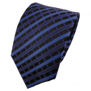 TigerTie Designer Seidenkrawatte blau dunkelblau schwarz kariert