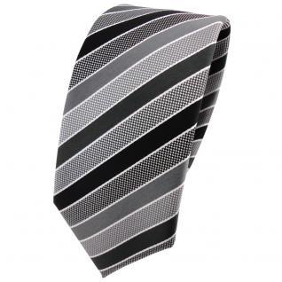 Schmale TigerTie Designer Krawatte anthrazit schwarz grau silber gestreift - Tie