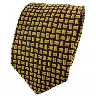 TigerTie Designer Seidenkrawatte gold schwarz gemustert - Krawatte 100% Seide