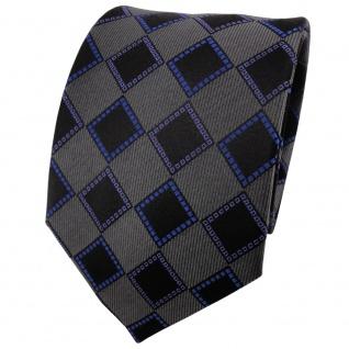 TigerTie Seidenkrawatte blau anthrazit schwarz kariert - Krawatte Seide Tie