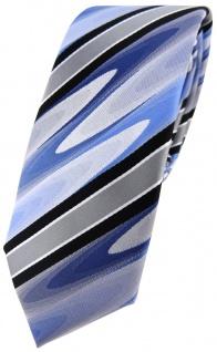 schmale TigerTie Designer Krawatte in blau schwarz silber grau gestreift