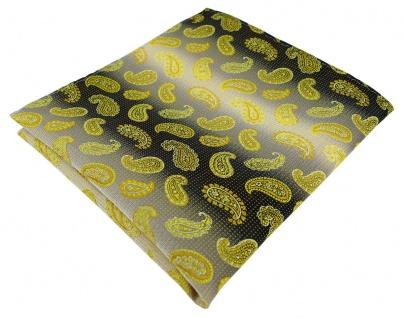 TigerTie Designer Einstecktuch in gelb anthrazit grausilber Paisley gemustert