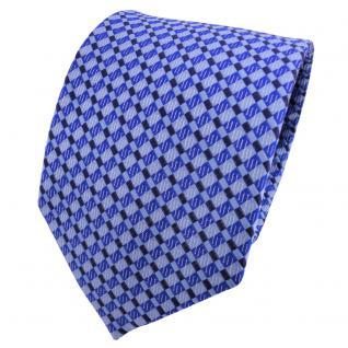 TigerTie Seidenkrawatte blau marine brillantblau silber kariert - Krawatte Seide